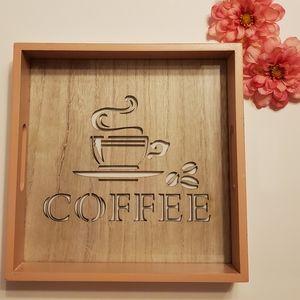 Coffee lovers wood & glass lazered tray decor